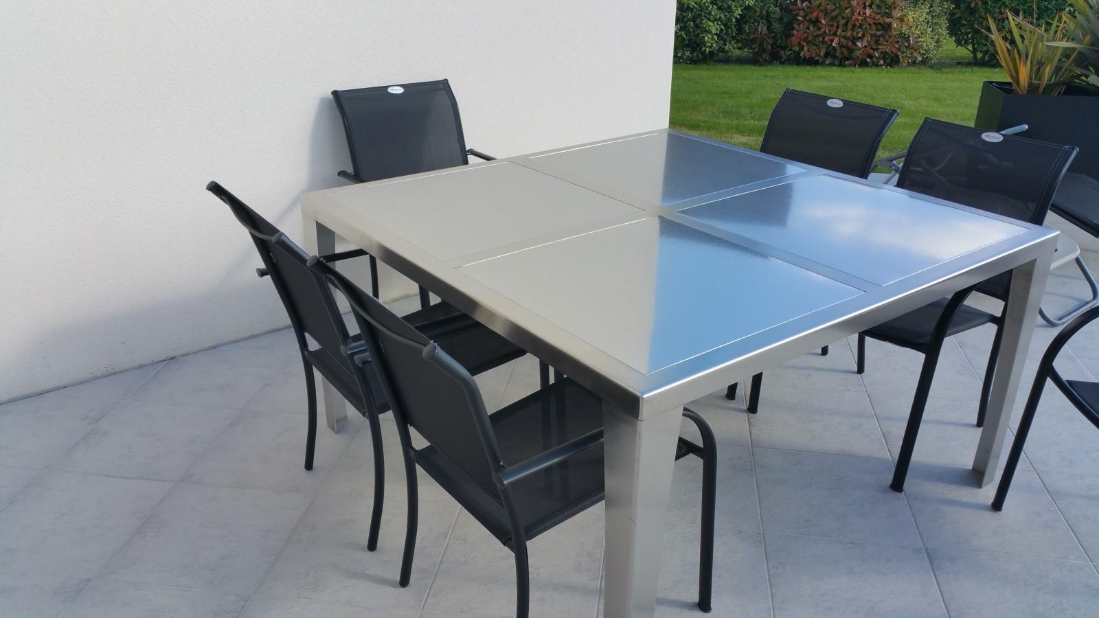 Salon de jardin en inox - Maison mobilier et design