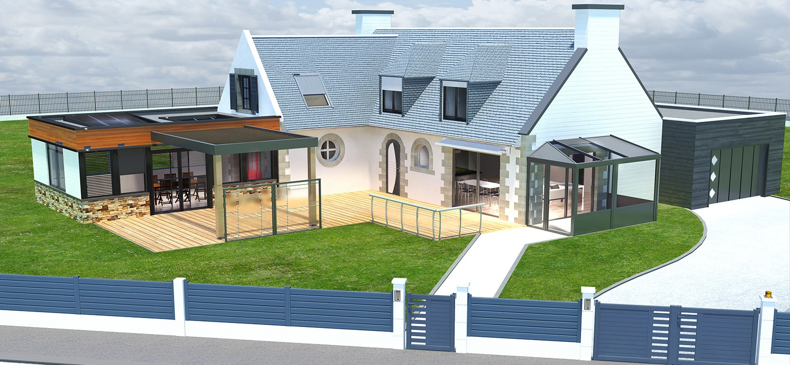 2pl cr ateur espaces ouvertures bretagne dept 22 29 35 56 - Moderne entree veranda ...