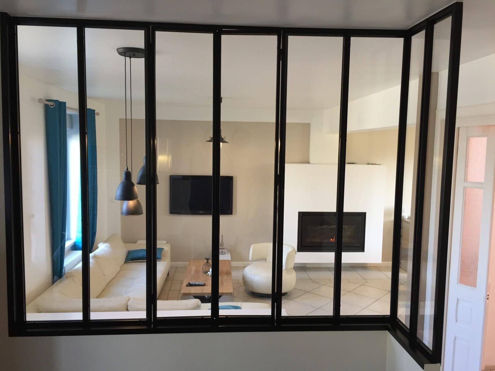 2pl verri re acier style atelier d 39 artiste ou cloison vitr e for Fenetre interieure cloison placo