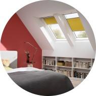 Fenêtres de toit VELUX Integra - finition WhiteFinish - stores intérieurs plissé