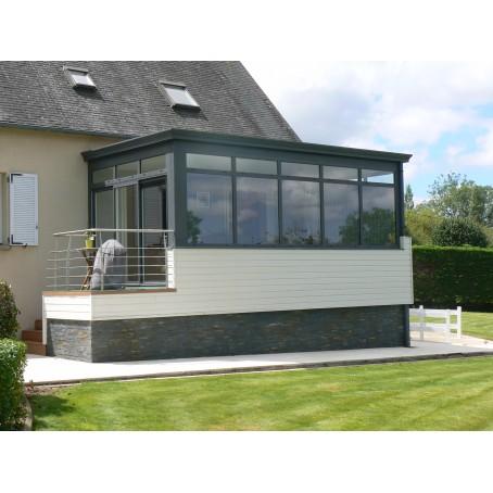 extension à toit plat avec imposte fixe - muret ossature bois