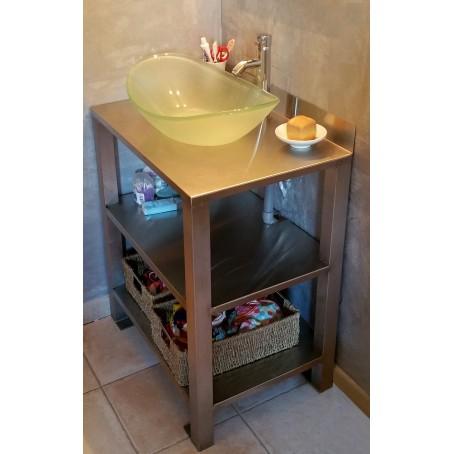 Meuble de salle de bain - 4 pieds - en inox