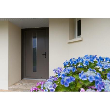 porte d'entrée aluminium avec panneau décor et liserés en inox