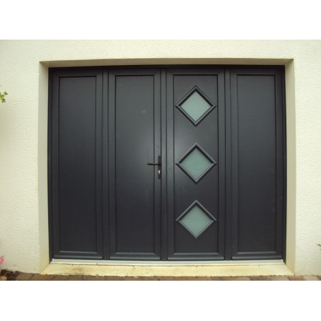 Porte de garage battante et portillon int gr ouverture for Porte de garage aluminium 4 vantaux