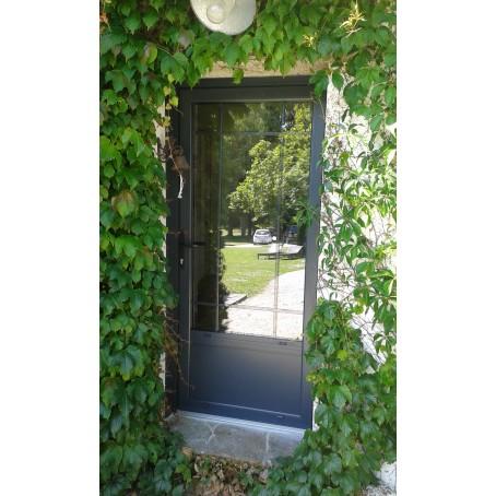 Porte d 39 entr e aluminium sur mesure vitr e ou pleine for Porte entree vitree alu