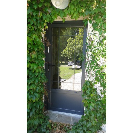 Porte d 39 entr e aluminium sur mesure vitr e ou pleine for Porte vitree aluminium