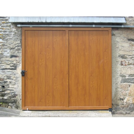 porte de garage coulissante suspendue - chêne doré