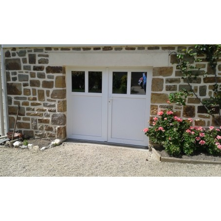 Porte de garage battante et portillon int gr ouverture for Porte de garage 2 battants sur mesure