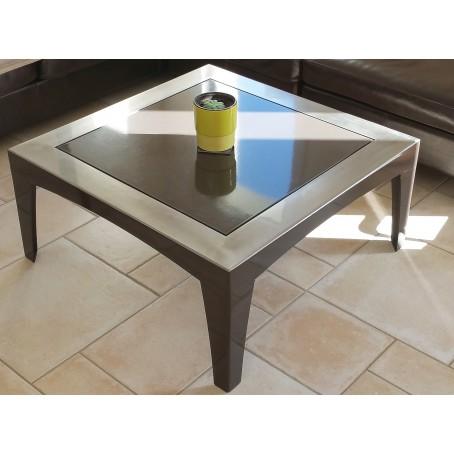 Table basse en acier brossé verni - laqué noir