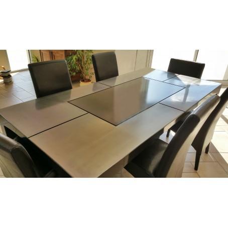 Table de salle à manger métal - acier brossé verni et laqué noir