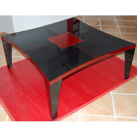 Table de salon acier thermolaquée en rouge et noir - avec découpe laser