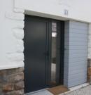 porte d'entrée pleine et fixe en aluminium avec vitrage