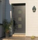 porte d'entrée en pvc avec un panneau décoratif